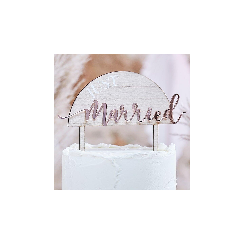 houten taarttopper Just married huwelijk