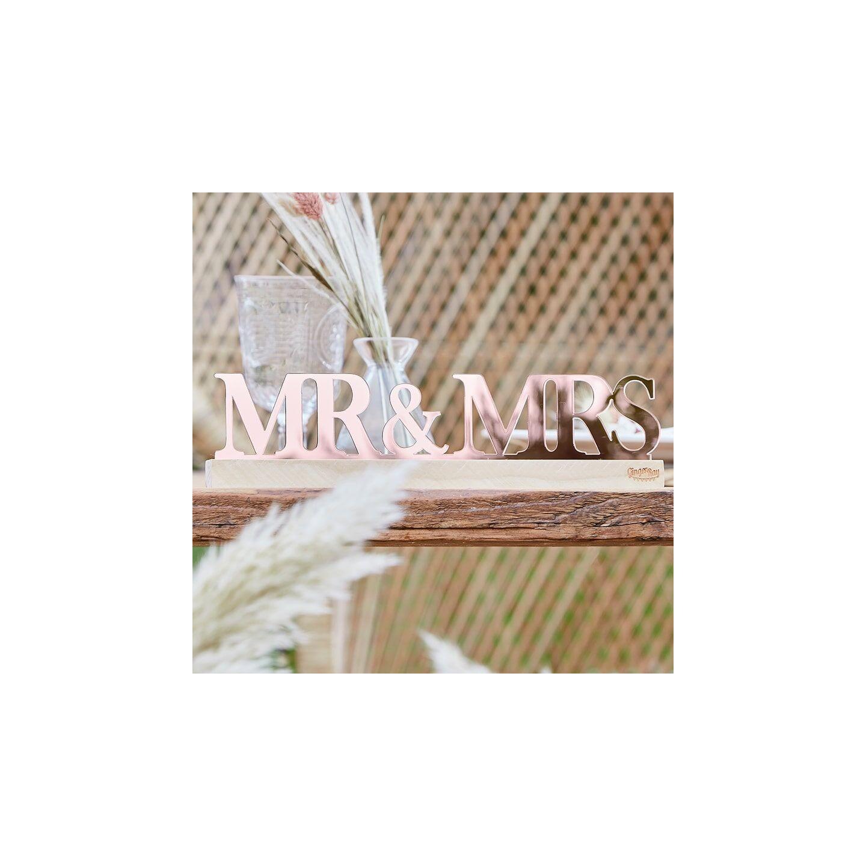 mr en mrs huwelijk decoratie rosé goud