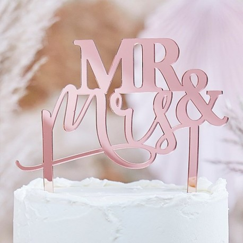 acryl taarttopper rosegoud mr en mrs huwelijk