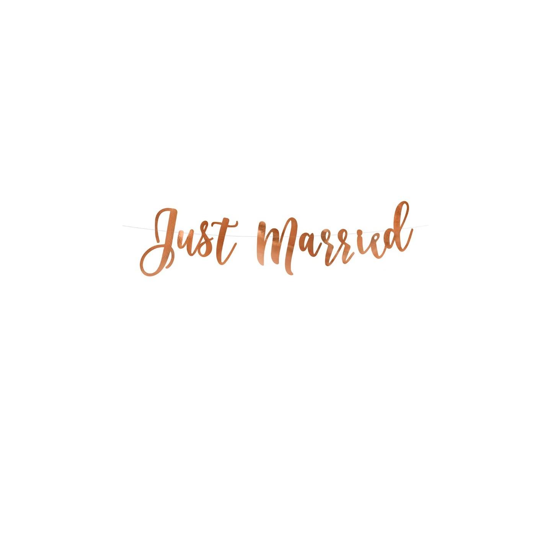 letterslinger just married bruiloftdecoratie roségoud