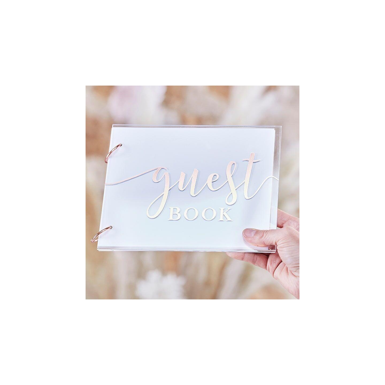 gastenboek huwelijk acryl rosegoud