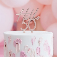 Taart topper verjaardag 50 jaar rose goud