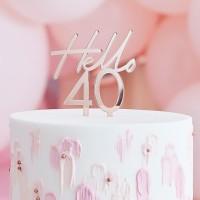 Taart topper verjaardag 40 jaar rose goud