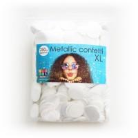Ballon confetti metallic wit rond groot