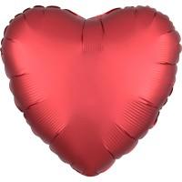 Folieballon Satin Luxe Rood hart 43cm