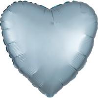 Folieballon Satin Luxe Pastel Blauw hart 43cm