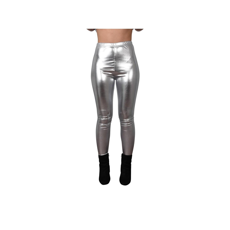zilveren metallic legging dames carnaval