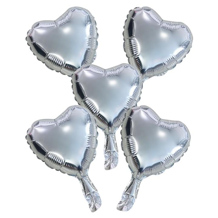 "Folieballon Minishape Hartvorm Zilver 9"" 5 st"