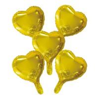 "Folieballon Minishape Hartvorm Goud 9"" 5 st"