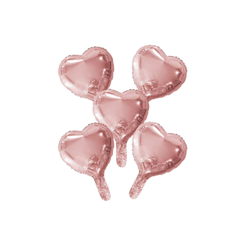 mini Folieballon klein rose goud hartje