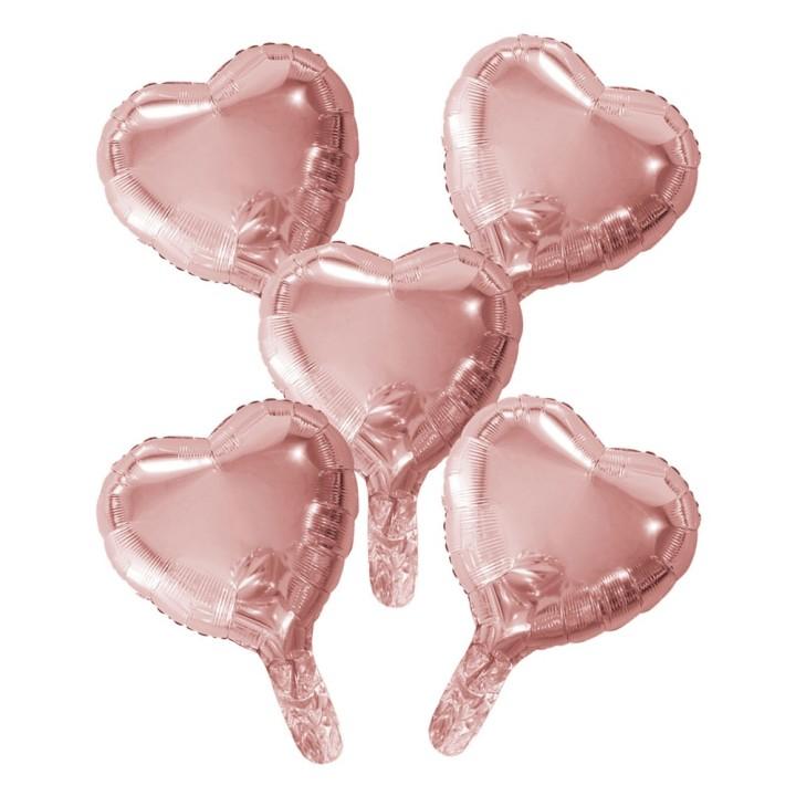 "Folieballon Minishape Hart Rosegoud 9"" 5 st"