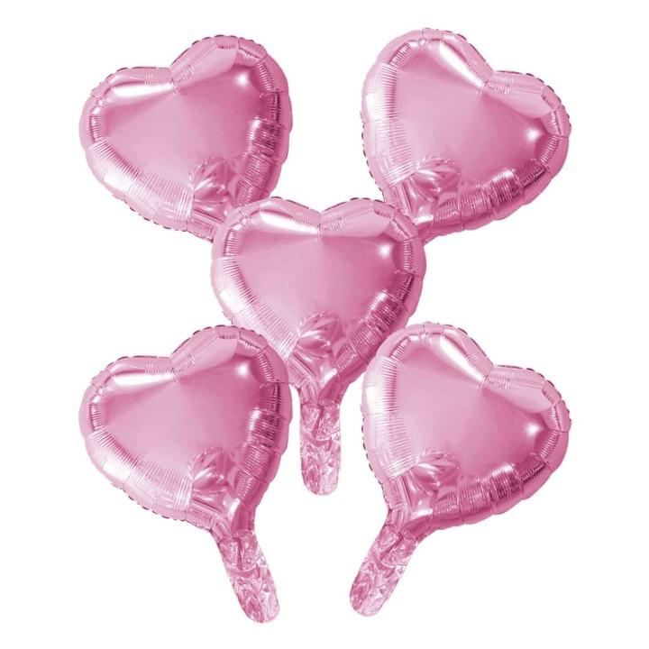 "Folieballon Minishape Hartvorm Roze 9"" 5 st"