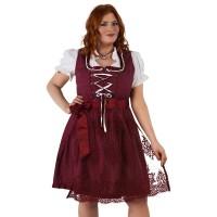 Dirndl jurk retro polka wijnrood grote maat