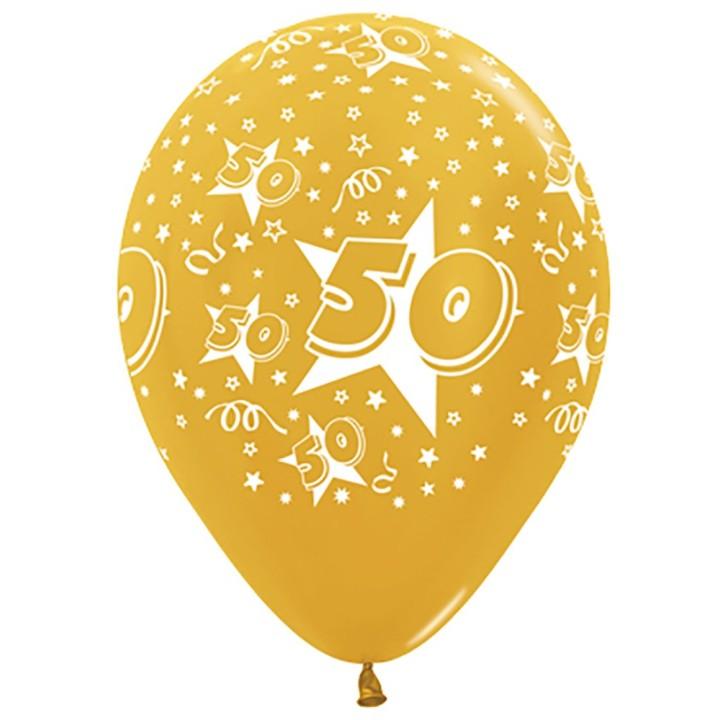 Ballonnen 50 Metallic Goud 30cm 5 stuks