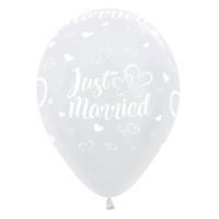Ballonnen Just Married wit 30cm 5 stuks