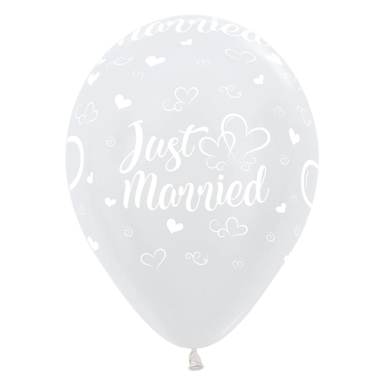 witte ballonnen huwelijk just married bruiloft