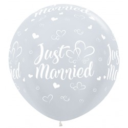 XL Ballon Just Married wit 90cm