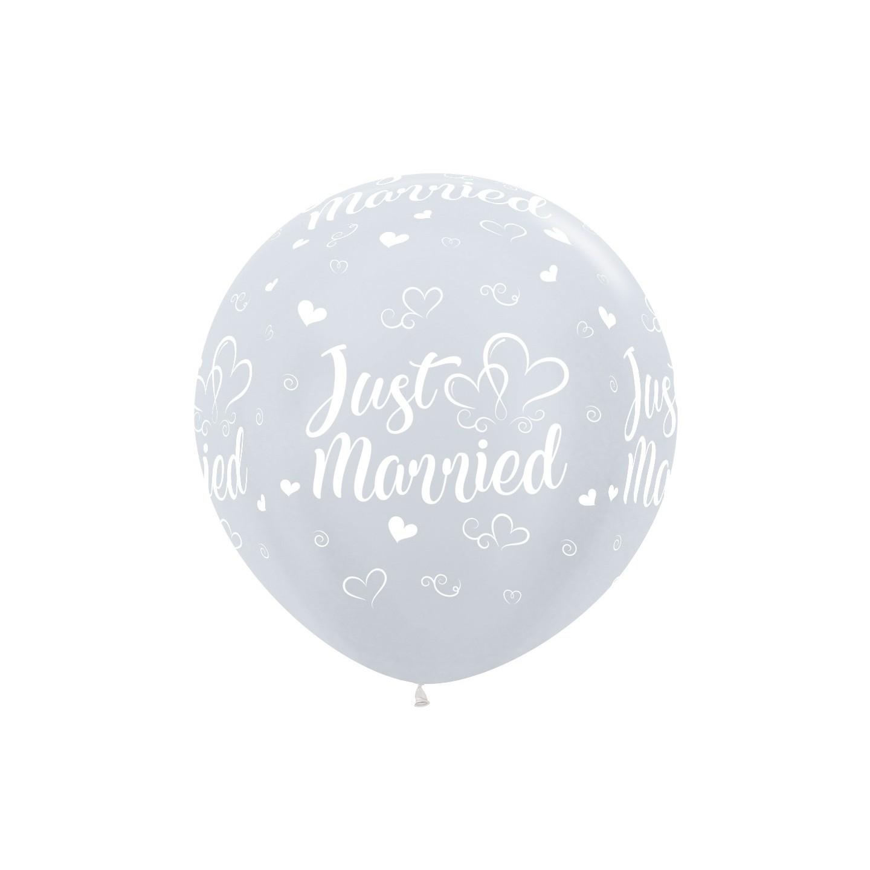 xl grote ballon wit huwelijk just married