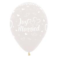 Ballonnen Just Married transp. 30cm 5 stuks