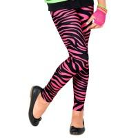 Neon 80's legging roze Zebra kind