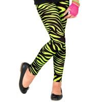 Neon 80's legging groen Zebra kind