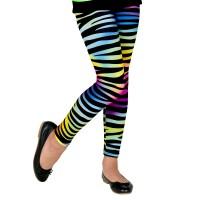 Neon 80's legging regenboog Zebra kind