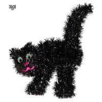 Muurdecoratie zwarte tinsel kat 30x36cm