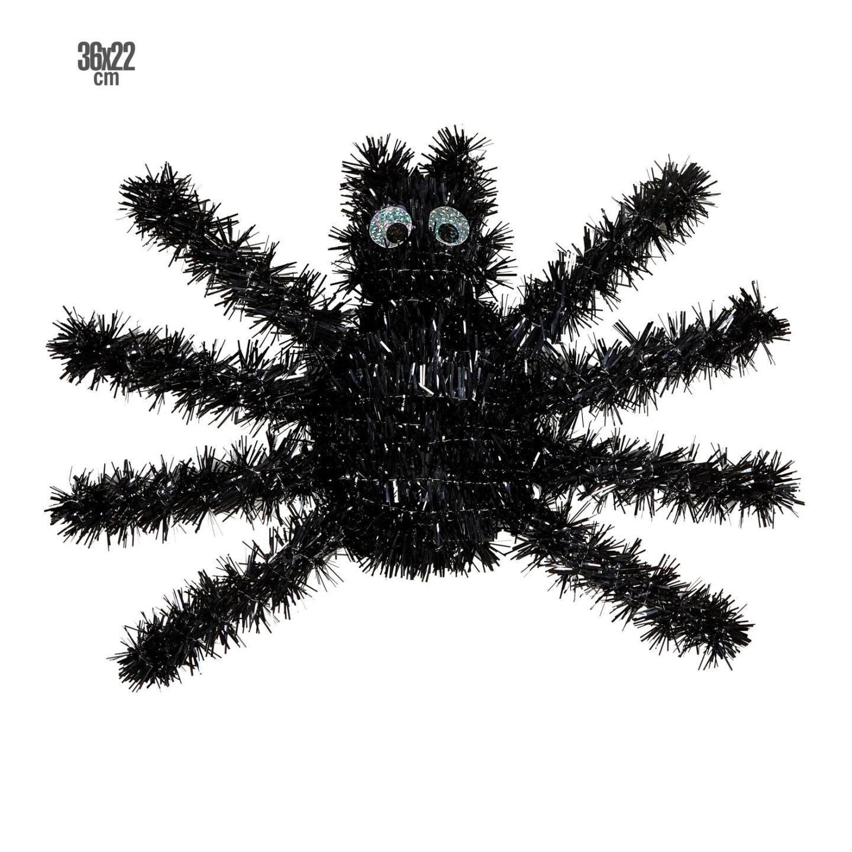 Halloween muurdecoratie zwarte spin versiering
