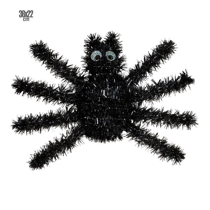 Muurdecoratie zwarte tinsel spin 36x22cm
