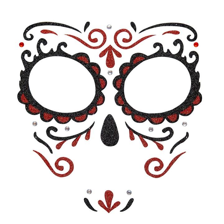 Dia de los Muertos gezicht sticker rood