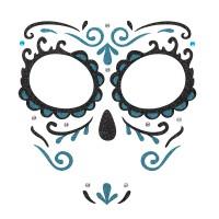 Dia de los Muertos gezicht sticker blauw