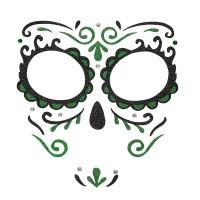 Dia de los Muertos gezicht sticker groen