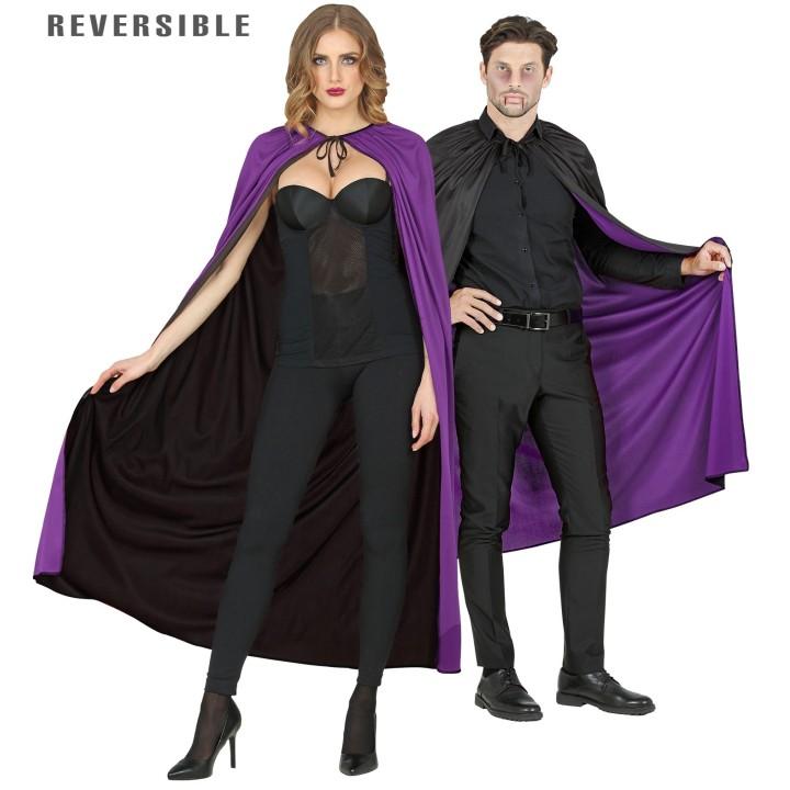 Omkeerbare cape zwart/paars 130 cm