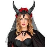 Diadeem demon horens bloemen halloween accessoires