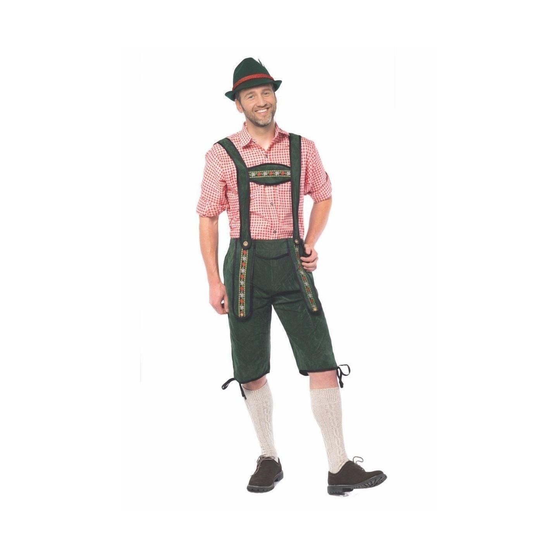 goedkope Lederhose Johann lange groene Tirolerbroek oktoberfest kleding