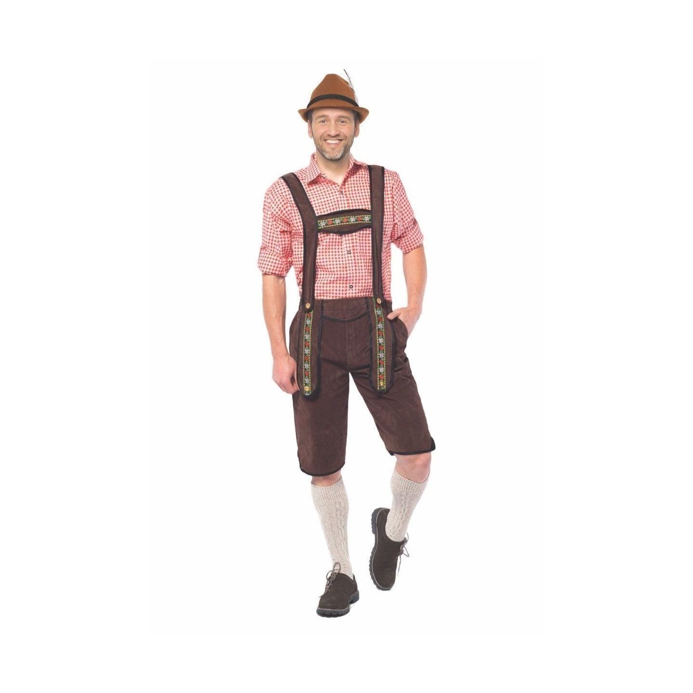 goedkope Lederhose Johann lange Bruine Tirolerbroek oktoberfest kleding