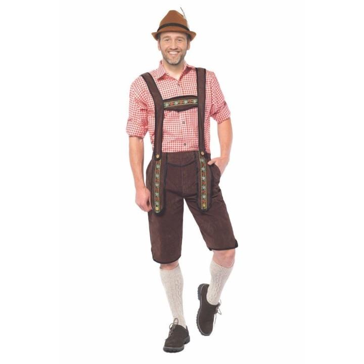 Lederhosen Johann lang Bruine Tiroler broek