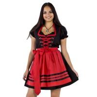 Korte dirndl jurk zwart met rood