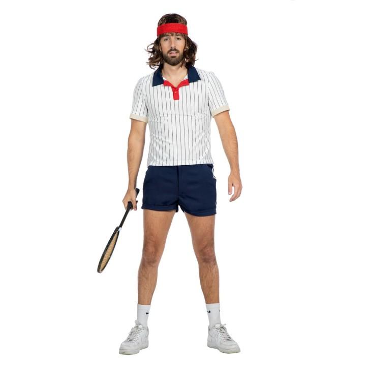 Jaren 80 retro tennis outfit heren wit