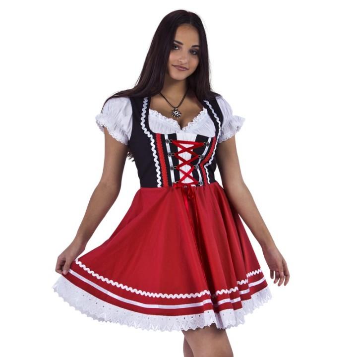 Tiroler Dirndl jurk zwart met rood + blouse