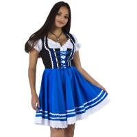 Tiroler Dirndl jurk zwart met blauw + blouse