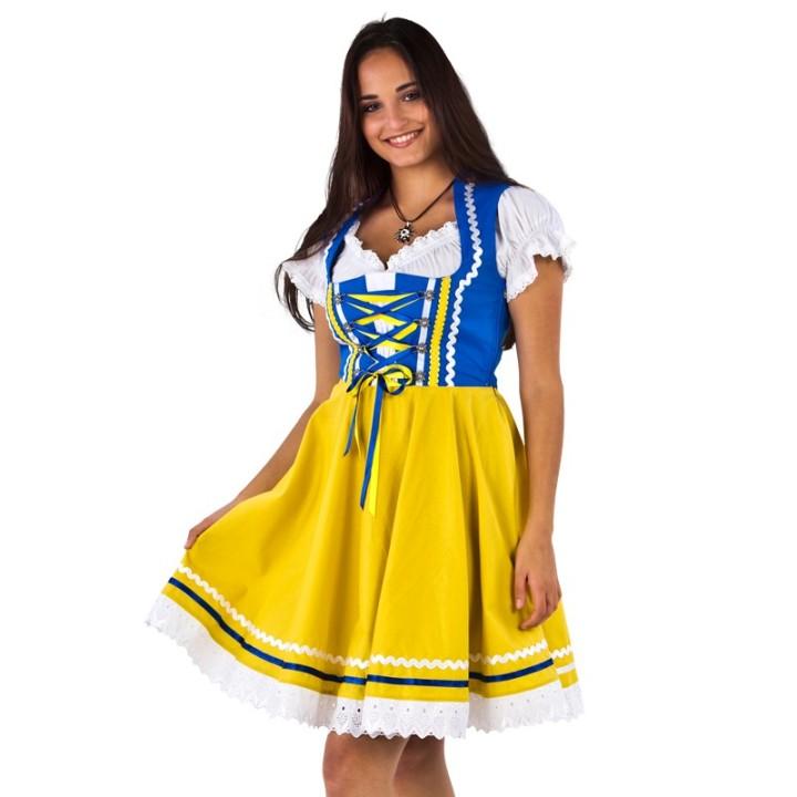 Tiroler Dirndl jurk blauw met geel + blouse