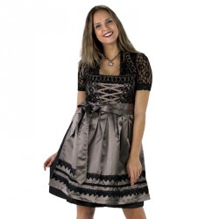 Dirndl jurk traditioneel zwart/taupe Jaquard