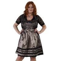 Dirndl jurk grote maat zwart/taupe Jaquard