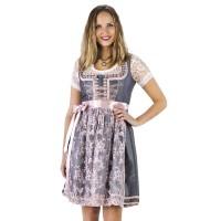 Luxe Dirndl jurk zilver/oudroze Jaquard