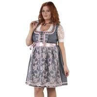 Luxe Dirndl jurk grote maat zilver/oudroze