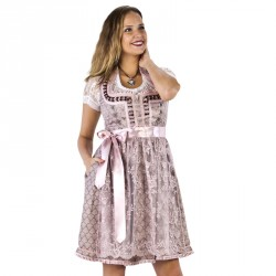 Luxe Dirndl jurk oudroze/taupe Jaquard