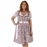 Dirndl jurk grote maat oudroze/taupe Jaquard