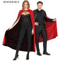 Omkeerbare cape zwart/rood 130 cm