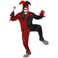Halloween enge harlekijn kostuum heren nar